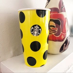 Starbucks Yellow Polka Dot Travel Coffee Mug
